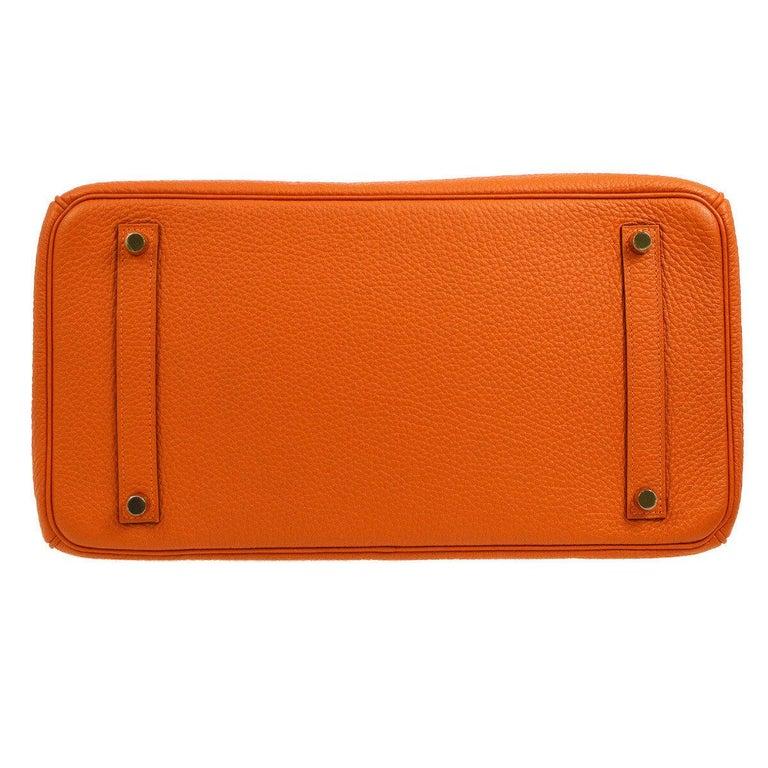 Hermes Birkin 35 Orange Leather Gold Top Handle Satchel Travel Tote Bag in Box For Sale 3