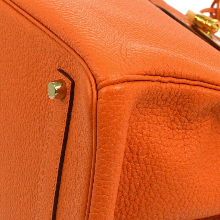 Hermes Birkin 35 Orange Leather Gold Top Handle Satchel Travel Tote Bag in Box For Sale 4