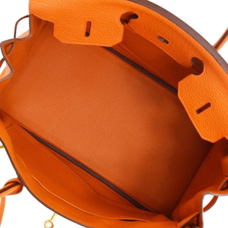Hermes Birkin 35 Orange Leather Gold Top Handle Satchel Travel Tote Bag in Box For Sale 5