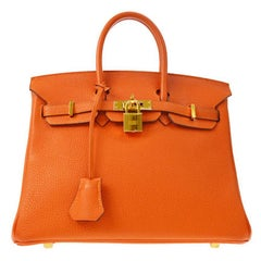 Hermes Birkin 35 Orange Leather Gold Top Handle Satchel Travel Tote Bag in Box