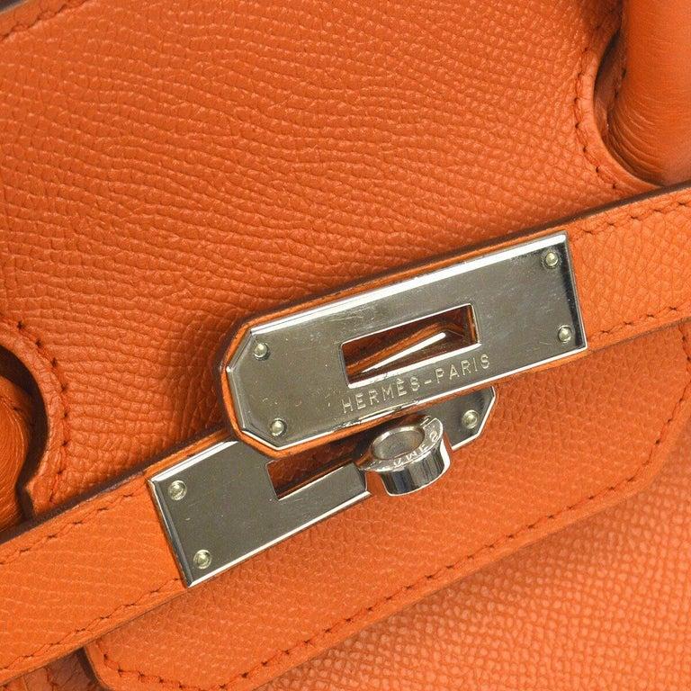 Hermes Birkin 35 Orange Leather Top Handle Satchel Travel Tote Bag  Leather Palladium tone hardware Leather lining Date code present Made in France Handle drop 4