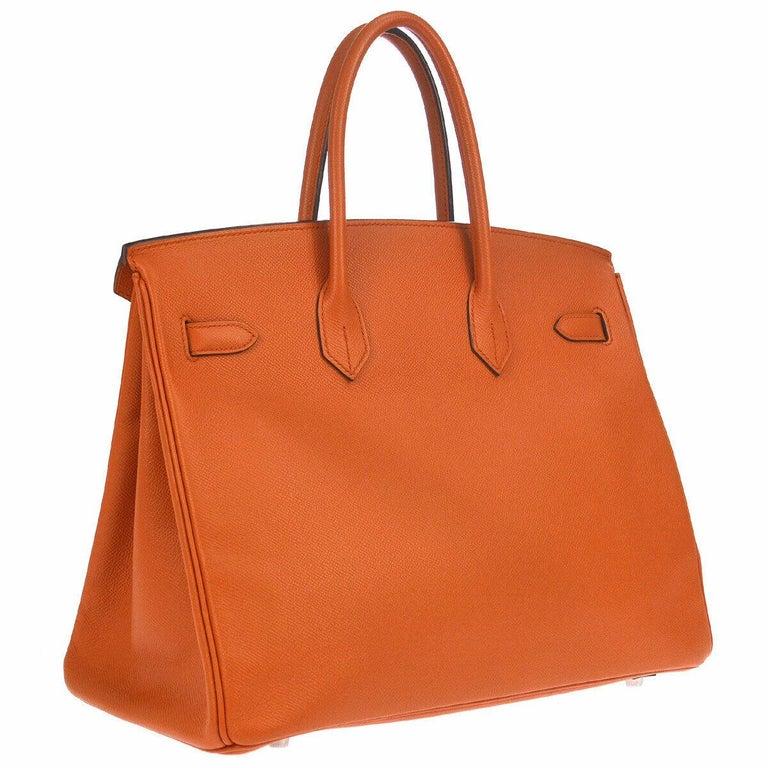 Women's Hermes Birkin 35 Orange Leather Top Handle Satchel Travel Tote Bag in Box For Sale