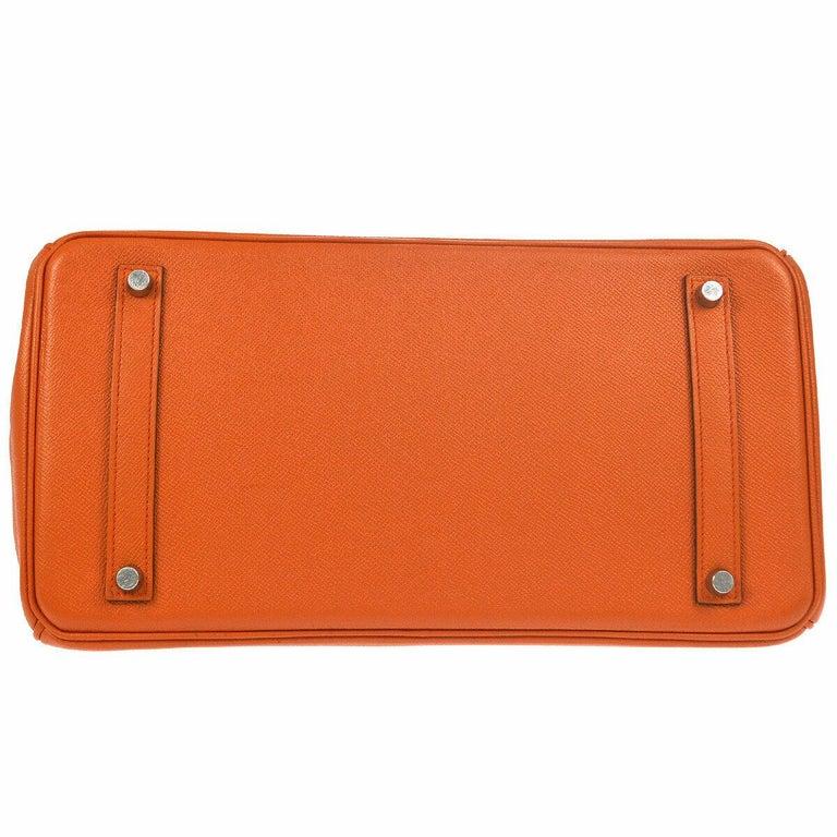Hermes Birkin 35 Orange Leather Top Handle Satchel Travel Tote Bag in Box For Sale 1