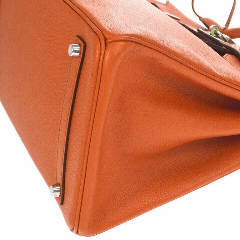 Hermes Birkin 35 Orange Leather Top Handle Satchel Travel Tote Bag in Box For Sale 2