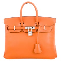 Hermes Birkin 35 Orange Leather Top Handle Satchel Travel Tote Bag in Box