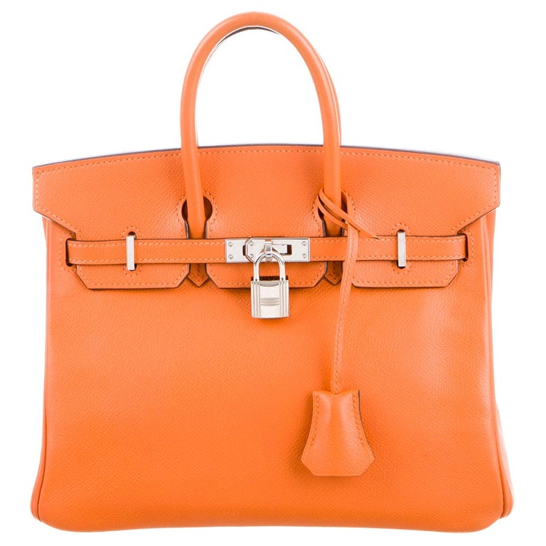 Hermes Birkin 35 Orange Leather Top Handle Satchel Travel Tote Bag in Box For Sale