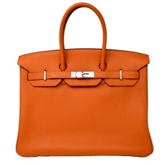 Hermes Birkin 35 Orange Togo Leather Palladium Hardware, like New