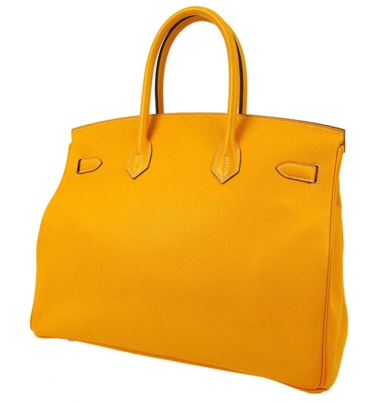 Hermes Birkin 35 Orange Yellow Limited Edition Gold Top Handle Satchel Tote Bag In Good Condition For Sale In Chicago, IL