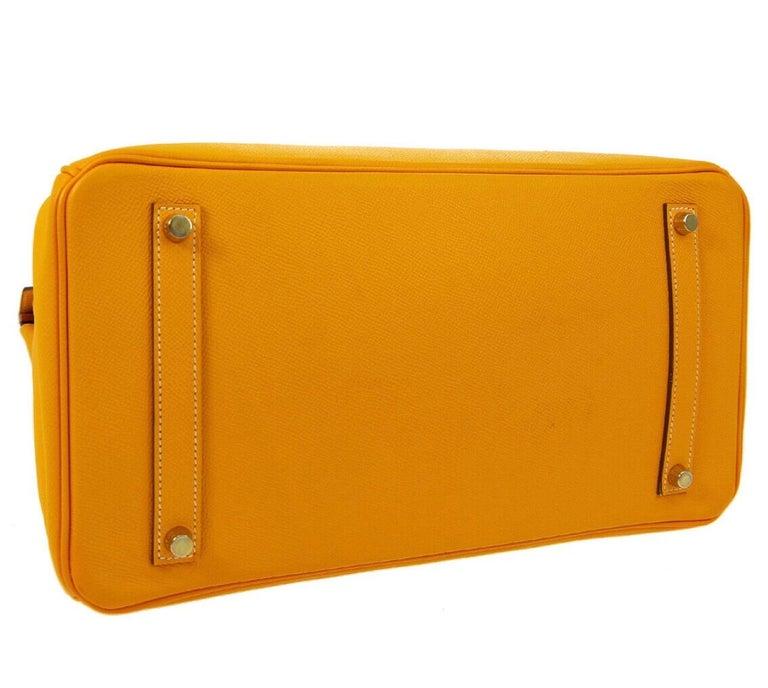 Women's Hermes Birkin 35 Orange Yellow Limited Edition Gold Top Handle Satchel Tote Bag For Sale