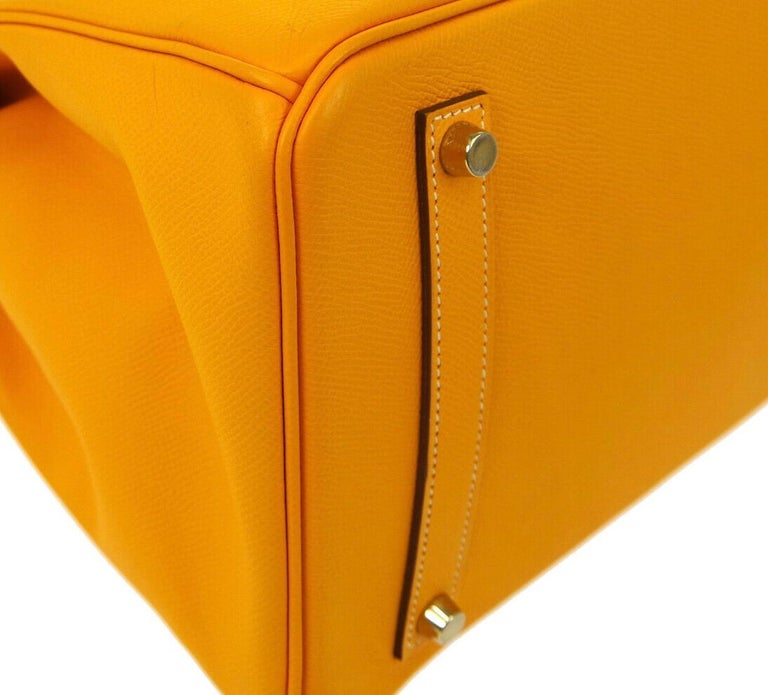 Hermes Birkin 35 Orange Yellow Limited Edition Gold Top Handle Satchel Tote Bag For Sale 1