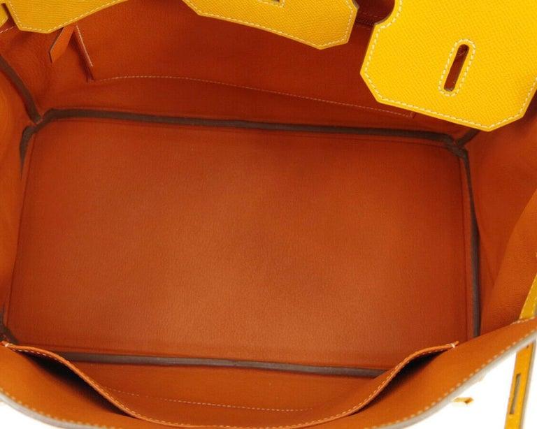 Hermes Birkin 35 Orange Yellow Limited Edition Gold Top Handle Satchel Tote Bag For Sale 2