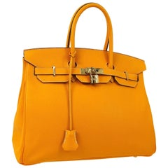 Hermes Birkin 35 Orange Yellow Limited Edition Gold Top Handle Satchel Tote Bag