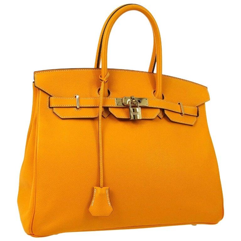 Hermes Birkin 35 Orange Yellow Limited Edition Gold Top Handle Satchel Tote Bag For Sale