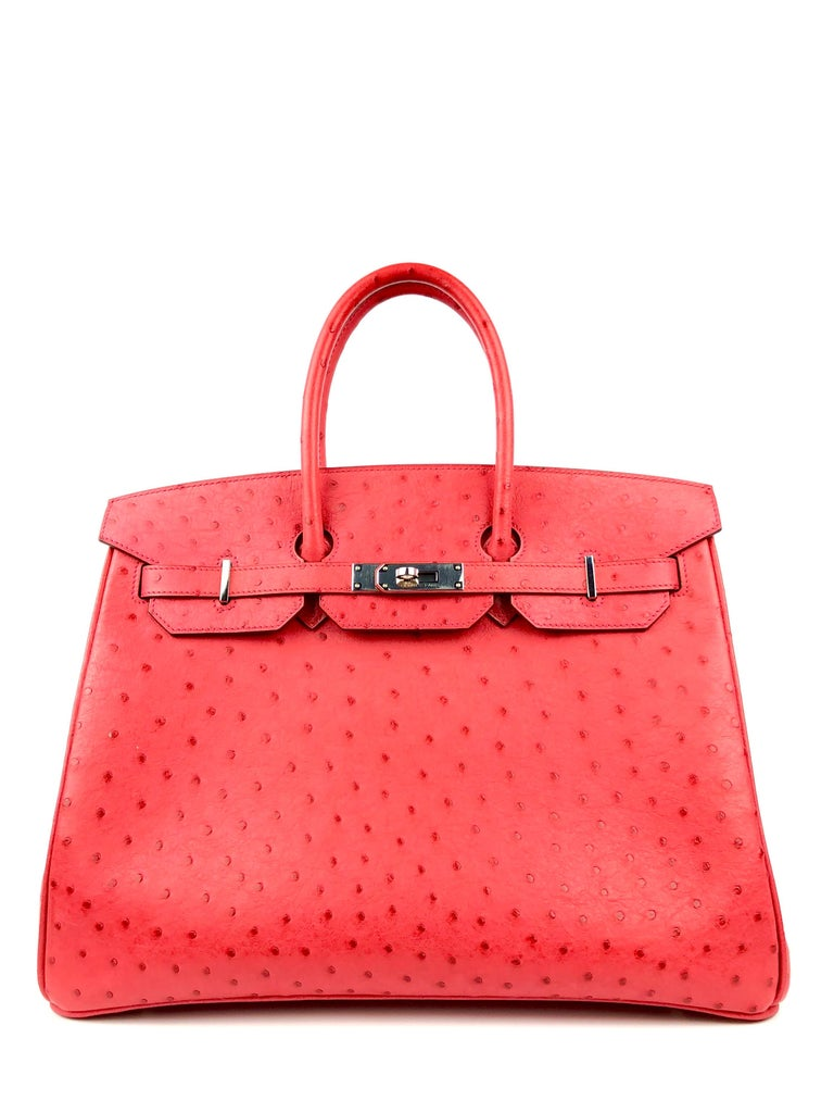 RARE HERMES BIRKIN OSTRICH BOUGAINVILLEA PINK RED PALLADIUM HARDWARE. Excellent condition, Plastic on hardware, perfect corners and structure.   Shop with Confidence from Lux Addicts. Authenticity Guaranteed!