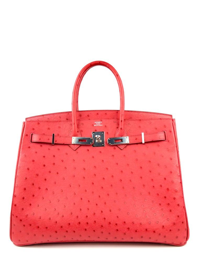 Hermes Birkin 35 Ostrich Bougainvillea Pink Red Palladium Hardware  In Excellent Condition For Sale In Miami, FL
