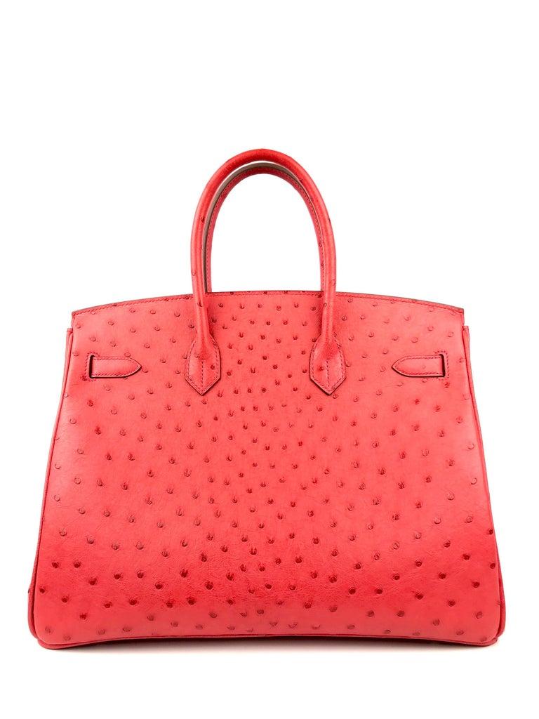Women's or Men's Hermes Birkin 35 Ostrich Bougainvillea Pink Red Palladium Hardware  For Sale