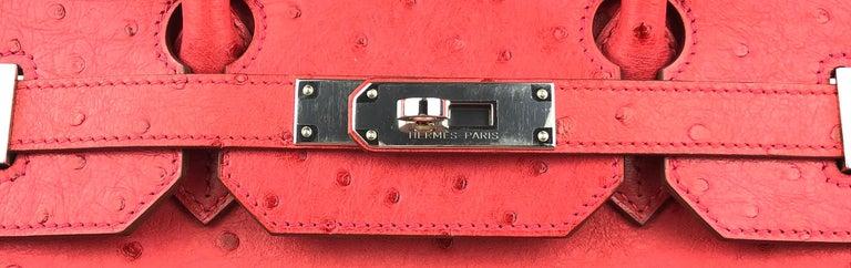 Hermes Birkin 35 Ostrich Bougainvillea Pink Red Palladium Hardware  For Sale 1