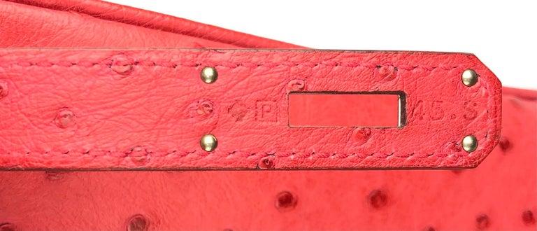 Hermes Birkin 35 Ostrich Bougainvillea Pink Red Palladium Hardware  For Sale 2