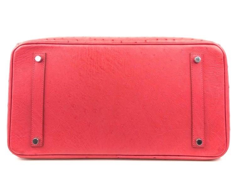 Hermes Birkin 35 Ostrich Bougainvillea Pink Red Palladium Hardware  For Sale 5