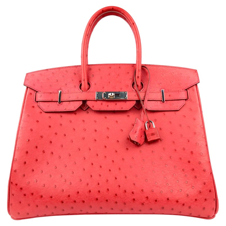 Hermes Birkin 35 Ostrich Bougainvillea Pink Red Palladium Hardware  For Sale