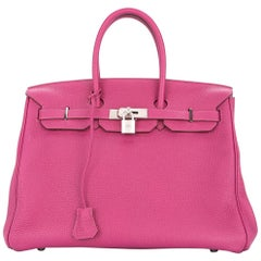 Hermes Birkin 35 Pink Palladium Silver CarryAll Satchel Tote Shoulder Bag