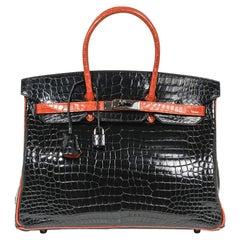 Hermes Birkin 35 Porosus Crocodile Black w/ Orange Palladium Hardware