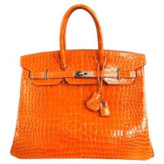 Hermes Birkin 35 Porosus Crocodile Fire Orange Palladium Hardware