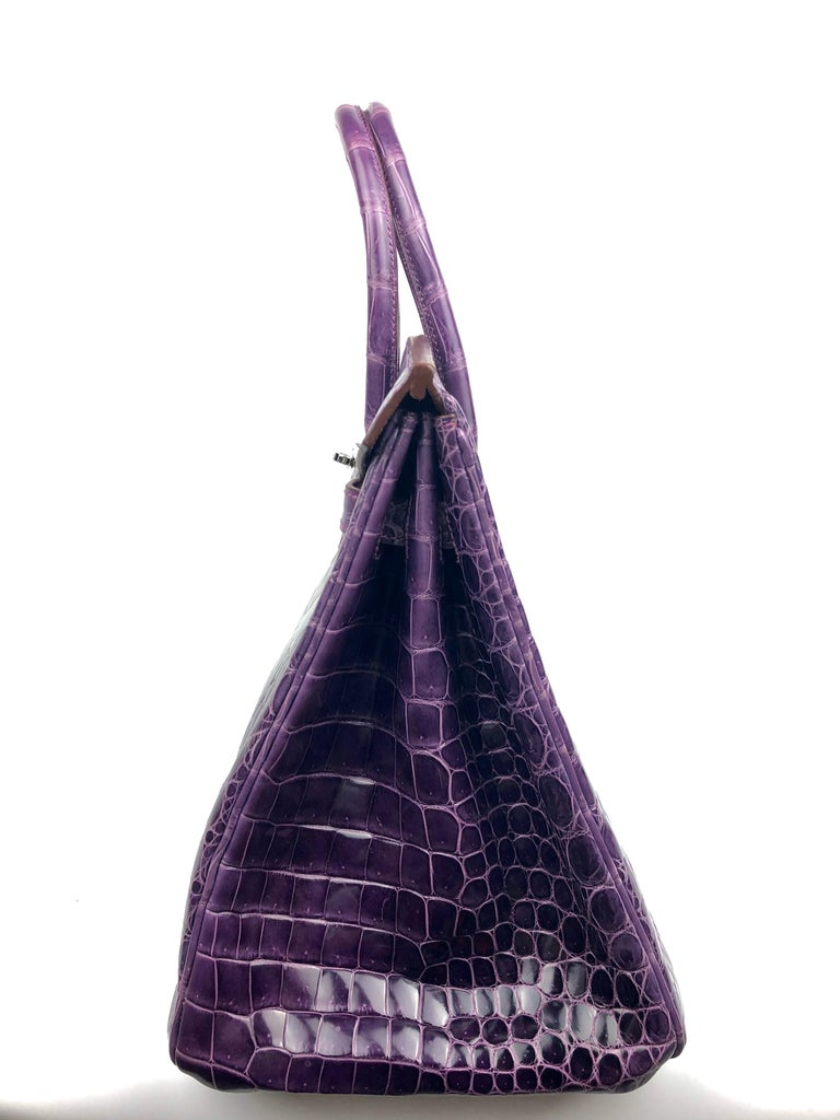 Hermes Birkin 35 Purple Amethyst Shinny Crocodile Palladium Hardware W/ Plastic  For Sale 6