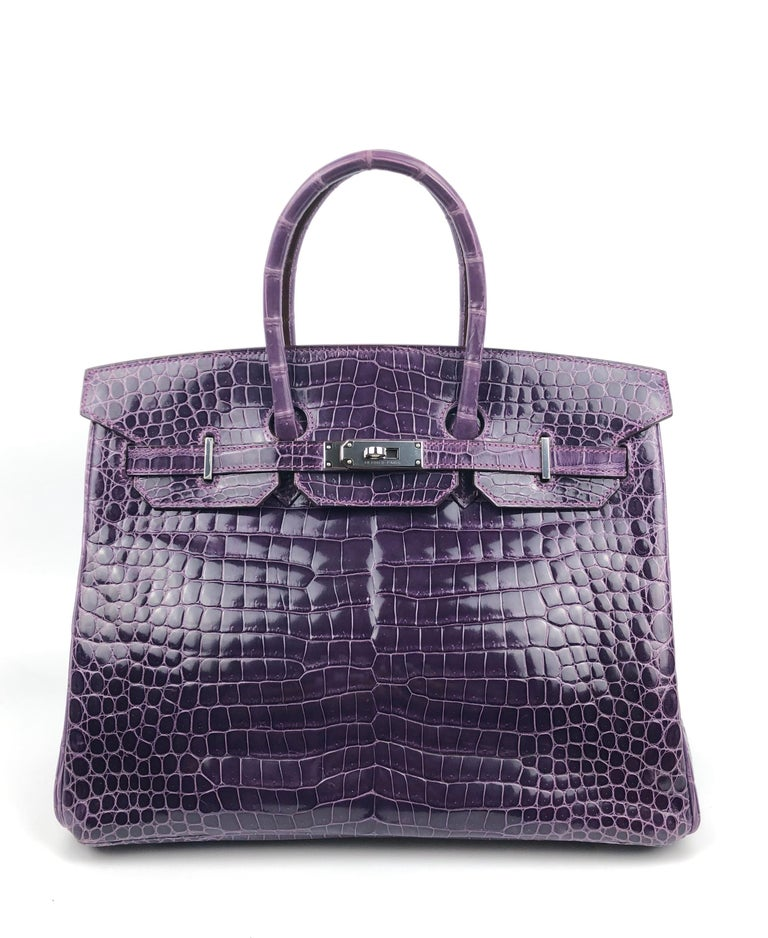 Hermes Birkin 35 Purple Amethyst Shinny Crocodile Palladium Hardware W/ Plastic. Pristine Condition with Plastic on all Hardware.   Shop with confidence from Lux Addicts. Authenticity Guaranteed!