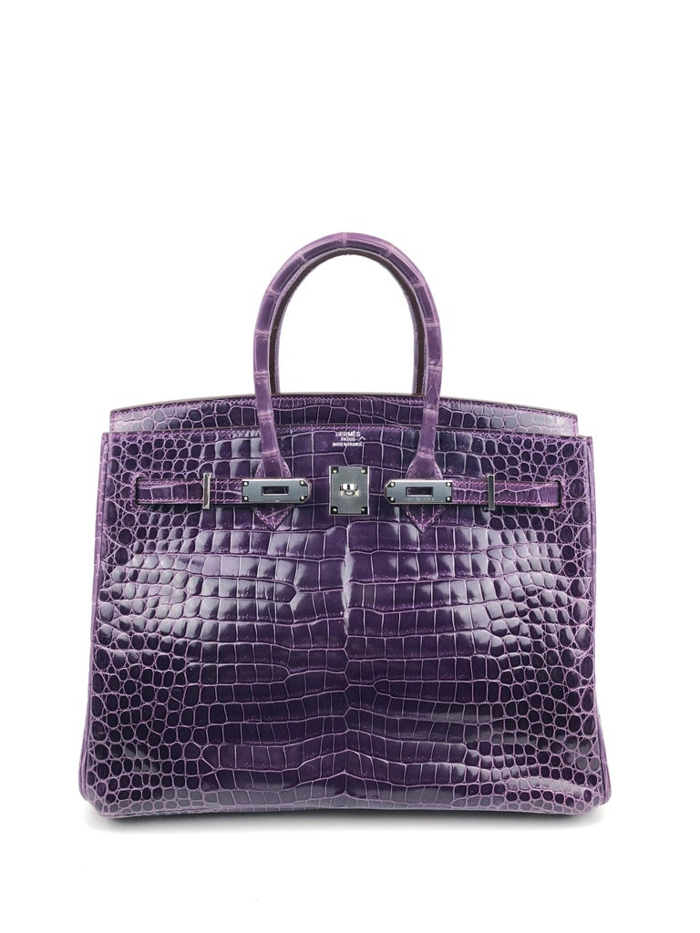 Hermes Birkin 35 Purple Amethyst Shinny Crocodile Palladium Hardware W/ Plastic  In Excellent Condition For Sale In Lancaster, CA
