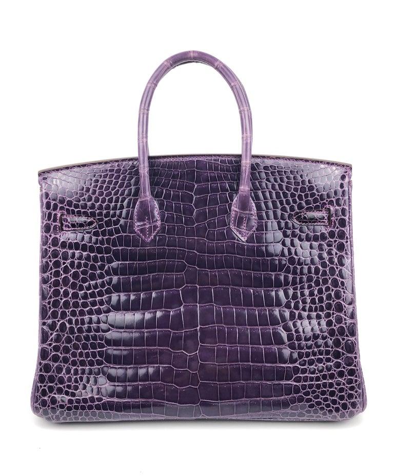Women's or Men's Hermes Birkin 35 Purple Amethyst Shinny Crocodile Palladium Hardware W/ Plastic  For Sale