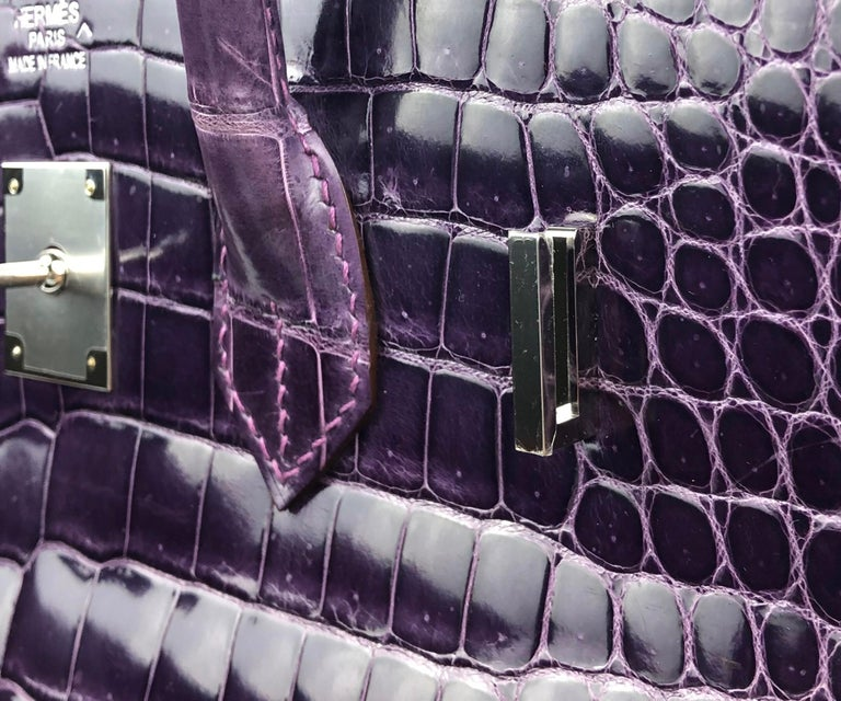 Hermes Birkin 35 Purple Amethyst Shinny Crocodile Palladium Hardware W/ Plastic  For Sale 3