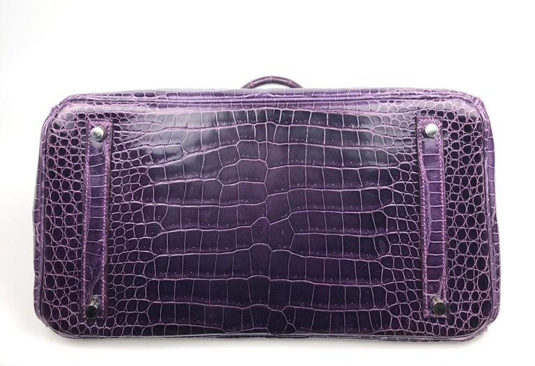 Hermes Birkin 35 Purple Amethyst Shinny Crocodile Palladium Hardware W/ Plastic  For Sale 4