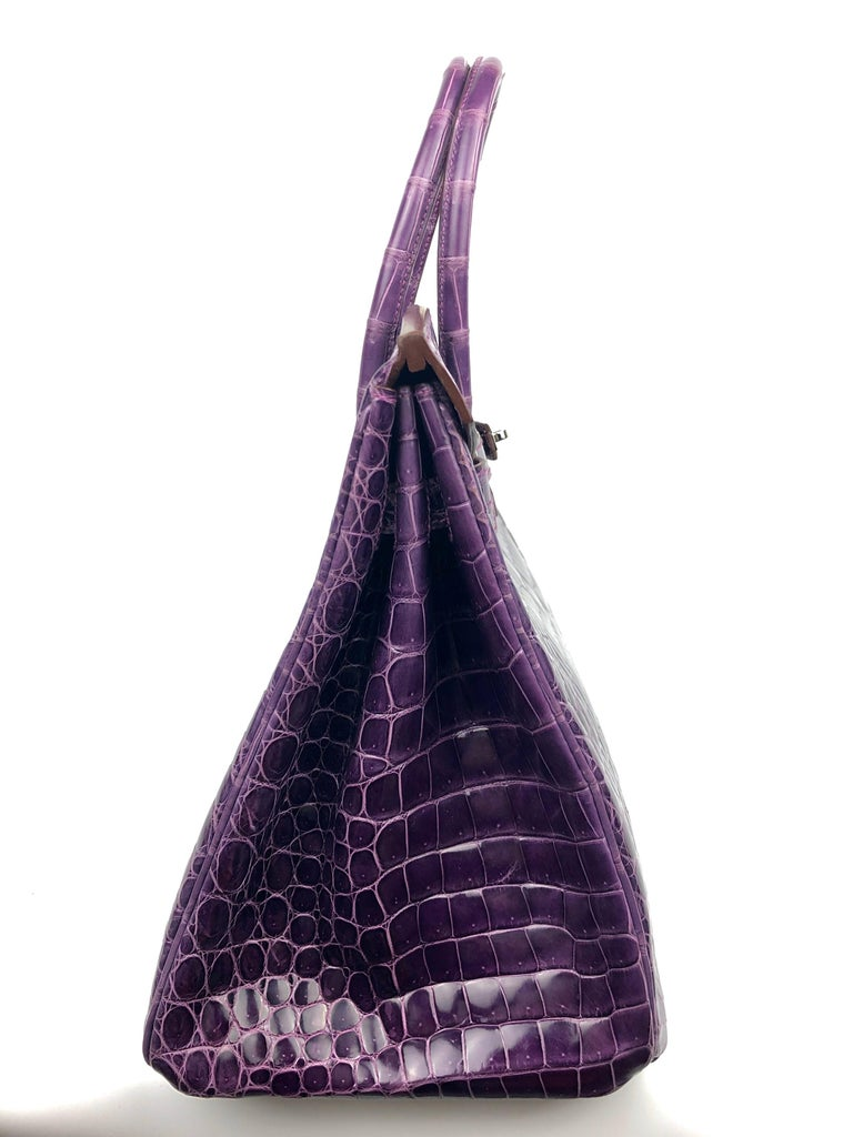 Hermes Birkin 35 Purple Amethyst Shinny Crocodile Palladium Hardware W/ Plastic  For Sale 5