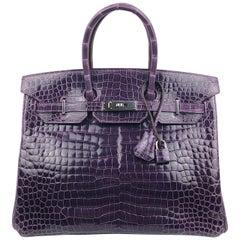 Hermes Birkin 35 Purple Amethyst Shinny Crocodile Palladium Hardware W/ Plastic