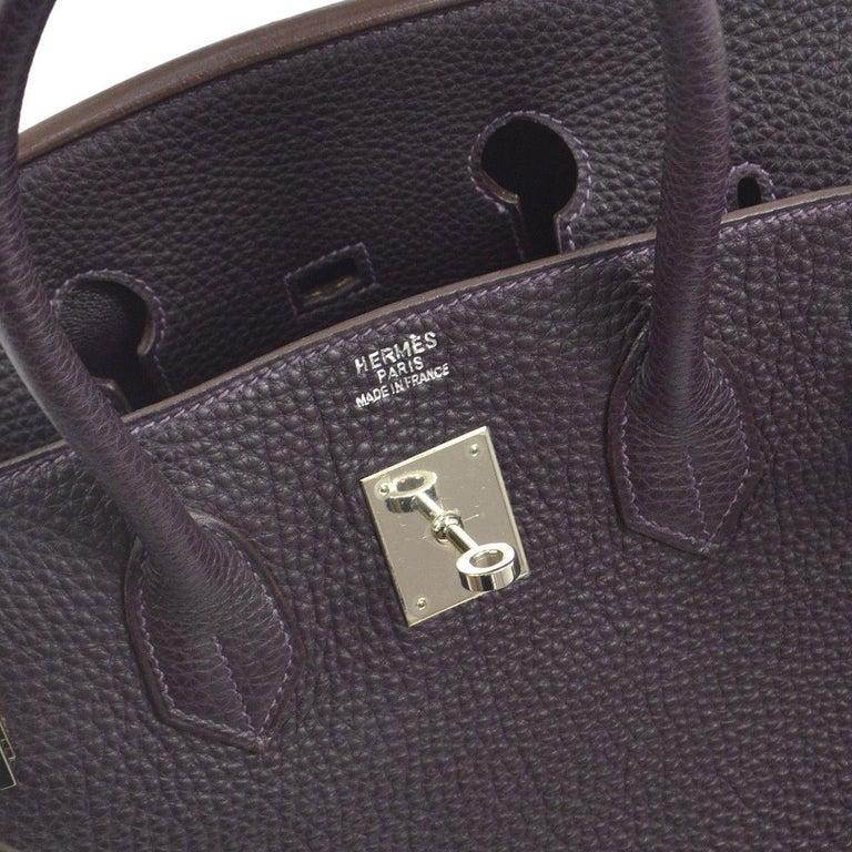 Brown Hermes Birkin 35 Purple Palladium Silver CarryAll Satchel Tote Shoulder Bag For Sale