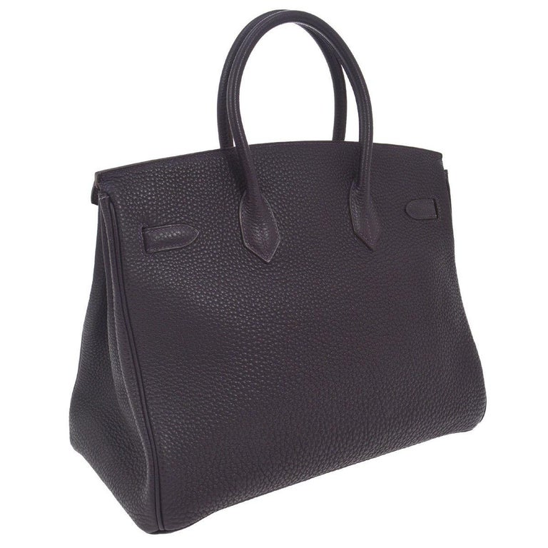 Hermes Birkin 35 Purple Palladium Silver CarryAll Satchel Tote Shoulder Bag In Good Condition For Sale In Chicago, IL