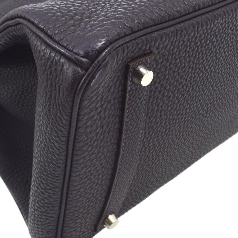 Hermes Birkin 35 Purple Palladium Silver CarryAll Satchel Tote Shoulder Bag For Sale 1
