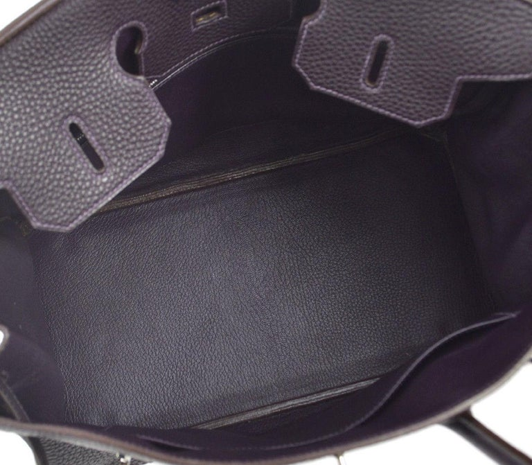 Hermes Birkin 35 Purple Palladium Silver CarryAll Satchel Tote Shoulder Bag For Sale 2