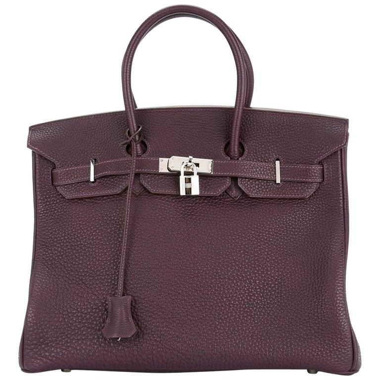 Hermes Birkin 35 Purple Palladium Silver CarryAll Satchel Tote Shoulder Bag For Sale
