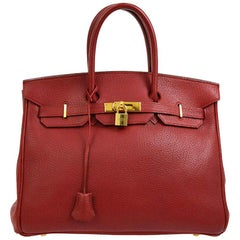 Hermes Birkin 35 Red Leather Gold Top Carryall Handle Satchel Travel Tote Bag