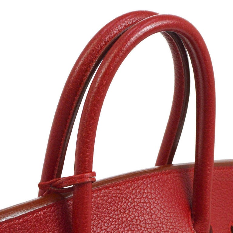 Hermes Birkin 35 Red Leather Gold Top Handle Satchel Travel Tote Bag  Leather Gold tone hardware Leather lining Date code present Made in France Handle drop 4