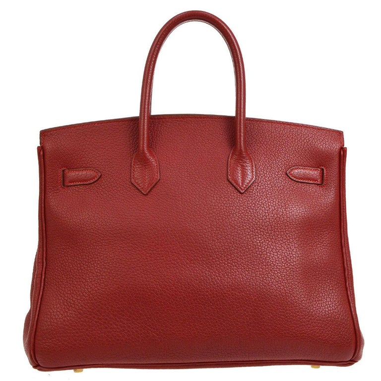 Brown Hermes Birkin 35 Red Leather Gold Top Handle Satchel Travel Bag For Sale