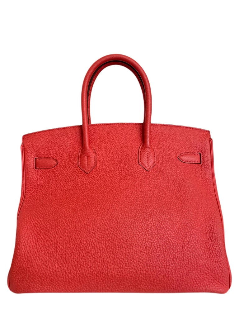 Women's or Men's Hermes Birkin 35 Rose Jaipur Pink Red Palladium Hardware  For Sale