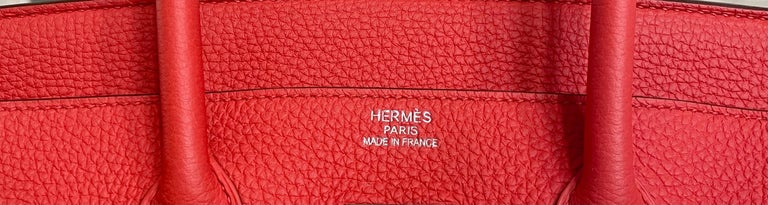 Hermes Birkin 35 Rose Jaipur Pink Red Palladium Hardware  For Sale 3