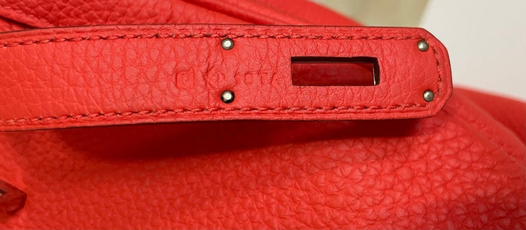 Hermes Birkin 35 Rose Jaipur Pink Red Palladium Hardware  For Sale 4