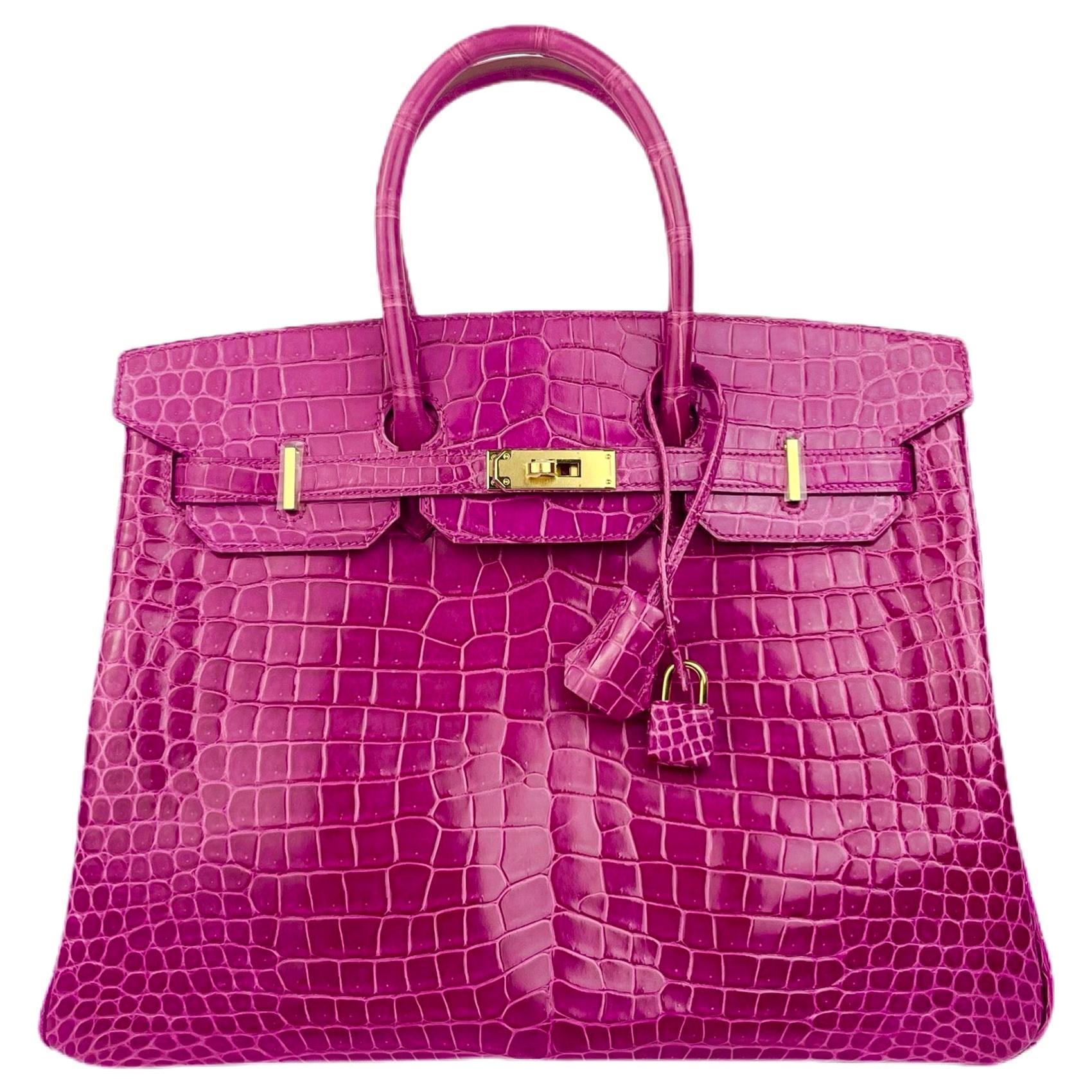 Hermes Birkin 35 Rose Scheherazade Pink Crocodile Gold Hardware