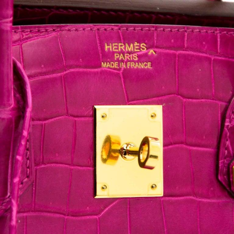 Hermès Birkin 35 Rose Sheherazade Porosus GHW 6