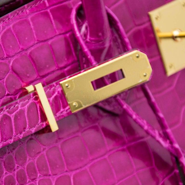 Hermès Birkin 35 Rose Sheherazade Porosus GHW 7