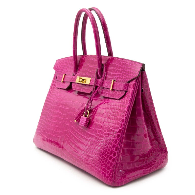Hermès Birkin 35 Rose Sheherazade Porosus GHW In Good Condition For Sale In Antwerp, BE
